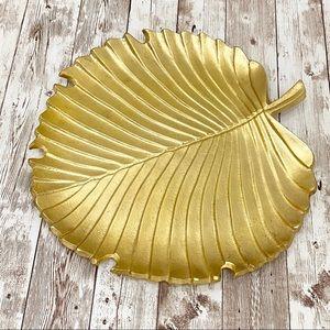 Large Gold Leaf Decorative Plate Jewelry Dish